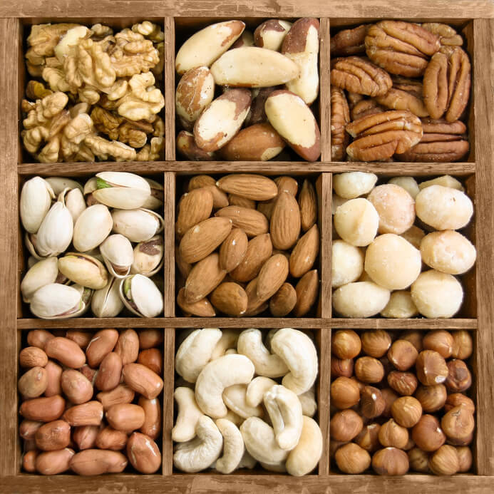 Nuts in a wooden box