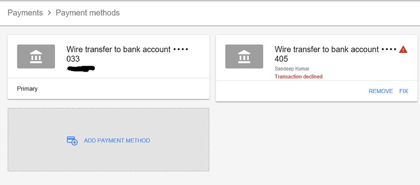 payment method setup