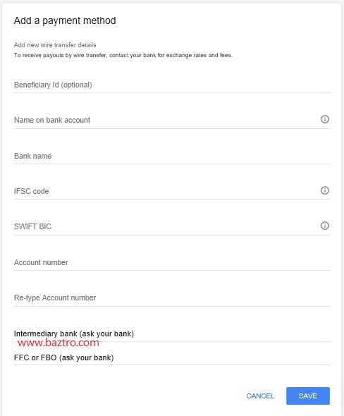 payment detail input