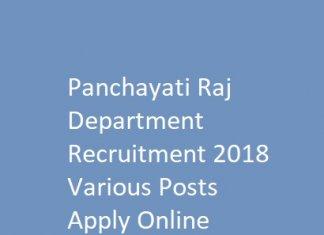 Panchayati Raj Department Recruitment 2018 Various Posts Apply Online
