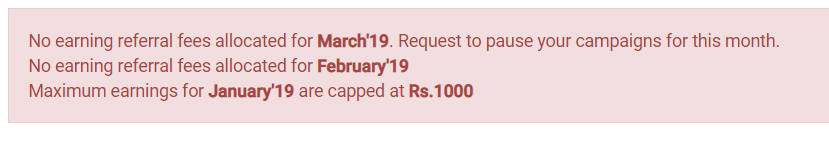 Flipkart Affiliate Shows Message Stopped & Pause Campaigns No Earning Withdrawal